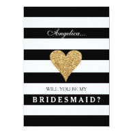 black and white Stripes Bridesmaid Invitation with gold sparkly heart