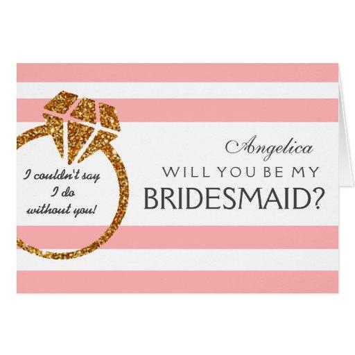 stripes will you be my bridesmaid invitation card zazzle. Black Bedroom Furniture Sets. Home Design Ideas