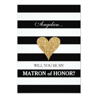 Stripes Will You Be My Matron of Honor Invitation