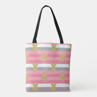 Stripes with glitter bunny tote bag