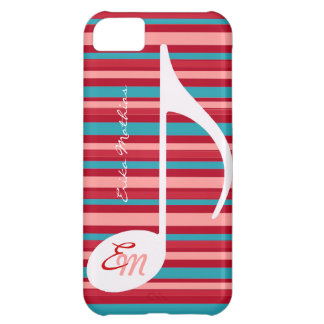 stripes with musical note iPhone 5C cases