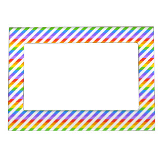 Stripes with Rainbow Colors. Magnetic Photo Frame