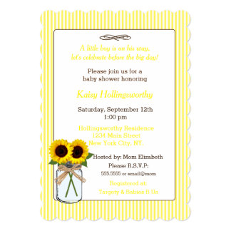 Stripes with Sunflowers in Mason Jar Baby Shower Card