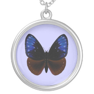 Stripet Blue Crow Butterfly Round Pendant Necklace