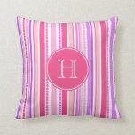 Stripey beads pink purple monogram throw pillow