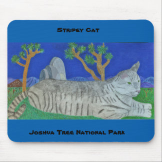Stripey Cat At Joshua Tree Art By Julia Hanna Mouse Pad