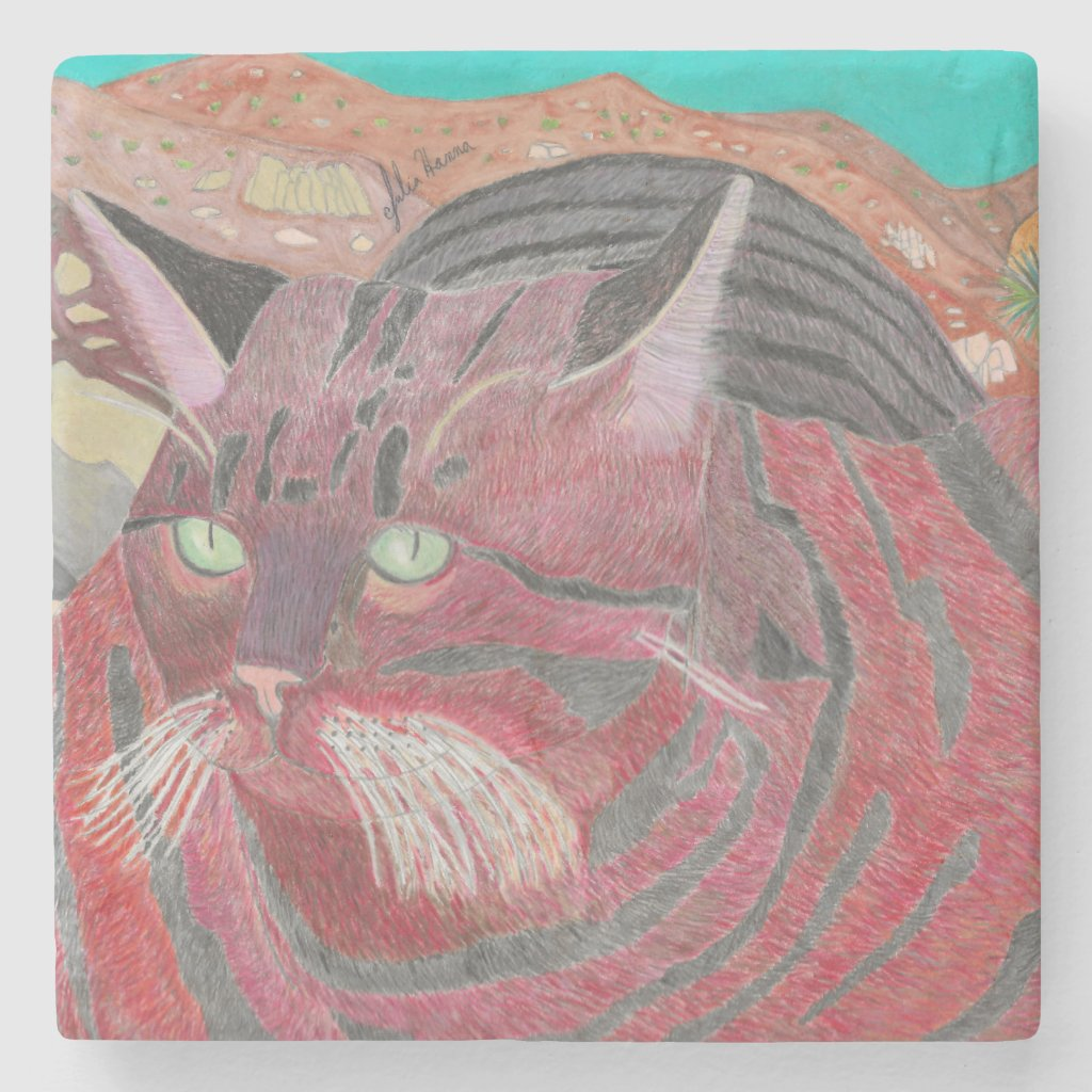Stripey Cat At Joshua Tree Coaster