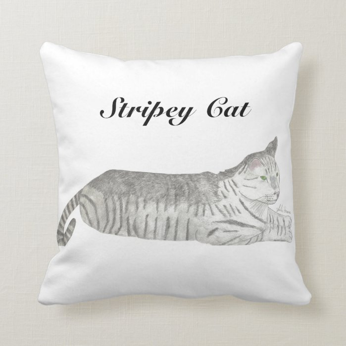 Stripey Cat by Julia Hanna Throw Pillow