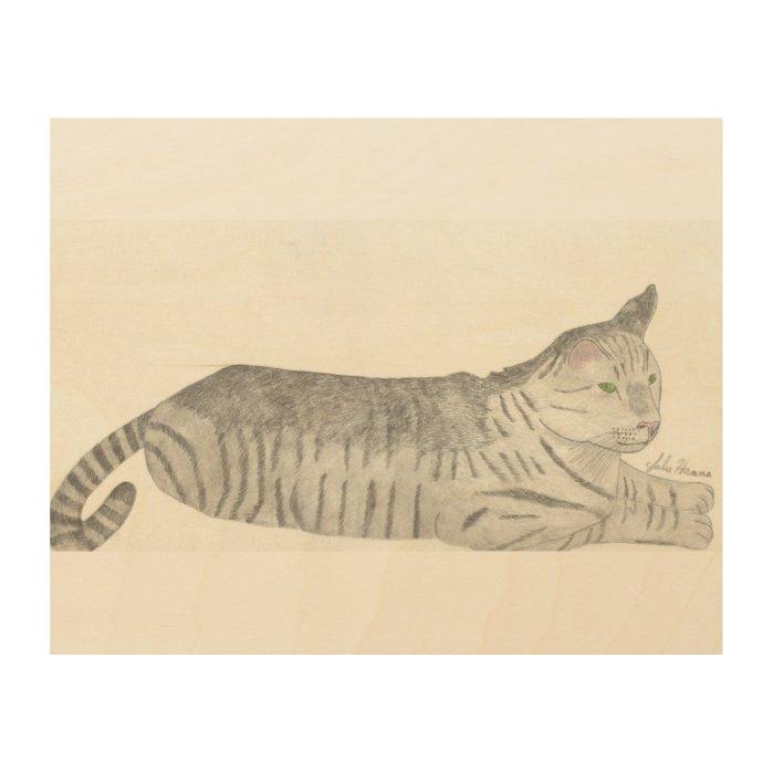 Stripey Cat By Julia Hanna Wood Wall Art