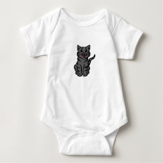 Stripey Cat – Grey Baby Bodysuit