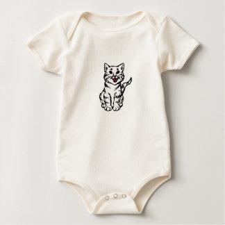 Stripey Cat – White Baby Bodysuit
