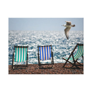 Stripey Deckchairs and Seagull Canvas Print