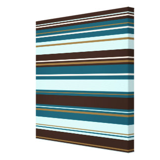 Stripey Design Brown Teals Cream & Gold Canvas Print