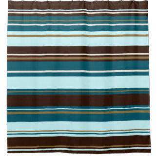 Stripey Design Brown Teals Cream U0026 Gold Shower Curtain