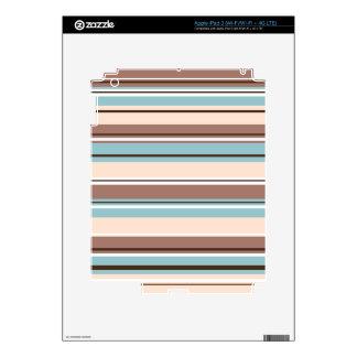 Stripey Design Browns Blue Cream & White iPad 3 Decal
