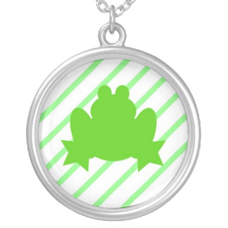 Stripey Frog Green Personalized Necklace