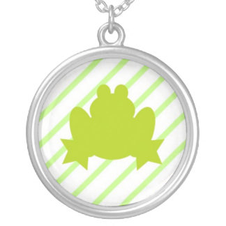 Stripey Frog Yellow Green Necklace