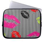 Stripey Lips Laptop Sleeves