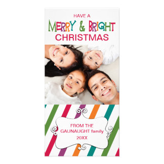 Stripey Merry & Bright Holiday Photo Card