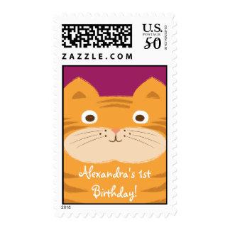Stripey Orange Cat First Birthday Custom Stamp