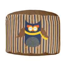 Stripey Owl Sturdy Spun Polyester Round Pouf