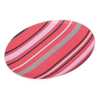 Stripey Pink Cupcake Plate