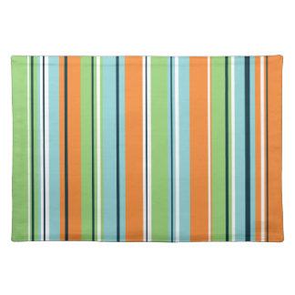 Stripey Vertical Design Green Blues Orange & White Cloth Placemat