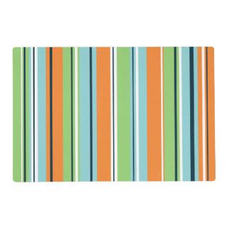 Stripey Vertical Design Green Blues Orange & White Placemat