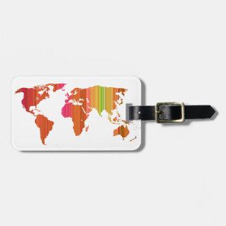 Stripey world bag tag