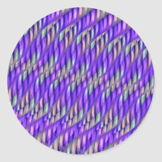 Striping Waves Bright Purple Abstract Artwork Classic Round Sticker
