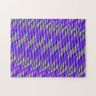 Striping Waves Bright Purple Abstract Artwork Puzzle