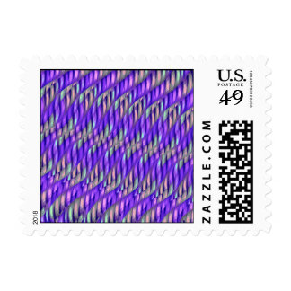 Striping Waves Bright Purple Abstract Artwork Stamp