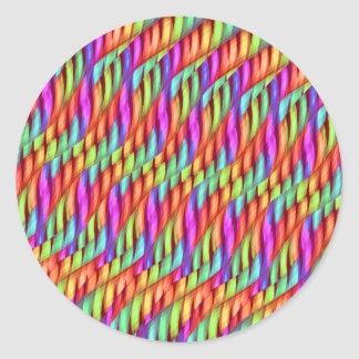 Striping Waves Bright Rainbow Abstract Artwork Classic Round Sticker