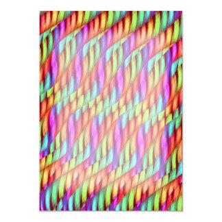 Striping Waves Bright Rainbow Abstract Artwork Invitations