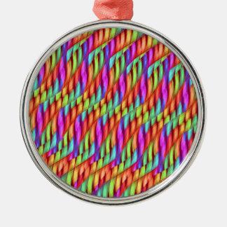Striping Waves Bright Rainbow Abstract Artwork Metal Ornament