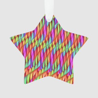 Striping Waves Bright Rainbow Abstract Artwork Ornament