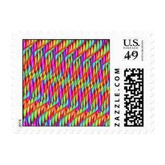 Striping Waves Bright Rainbow Abstract Artwork Postage Stamps