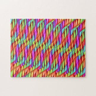 Striping Waves Bright Rainbow Abstract Artwork Jigsaw Puzzles