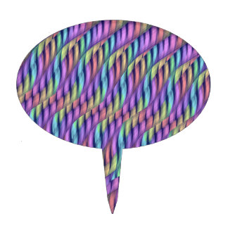 Striping Waves Pastel Rainbow Abstract Artwork Cake Topper