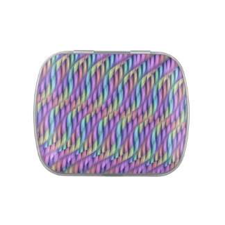 Striping Waves Pastel Rainbow Abstract Artwork Jelly Belly Candy Tins