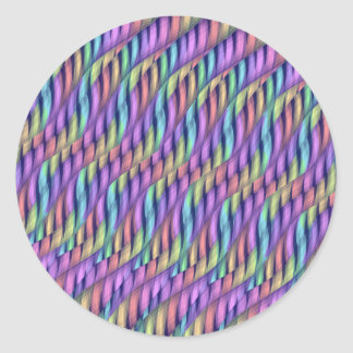 Striping Waves Pastel Rainbow Abstract Artwork Classic Round Sticker