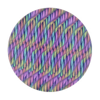 Striping Waves Pastel Rainbow Abstract Artwork Cutting Board