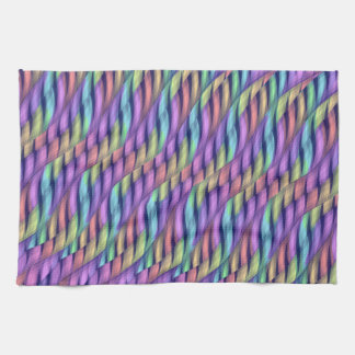 Striping Waves Pastel Rainbow Abstract Artwork Hand Towel