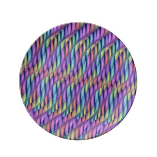 Striping Waves Pastel Rainbow Abstract Artwork Porcelain Plate