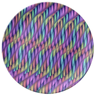 Striping Waves Pastel Rainbow Abstract Artwork Porcelain Plates