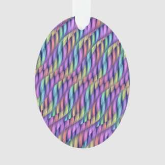 Striping Waves Pastel Rainbow Abstract Artwork Ornament