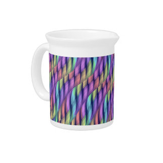 Striping Waves Pastel Rainbow Abstract Artwork Drink Pitchers