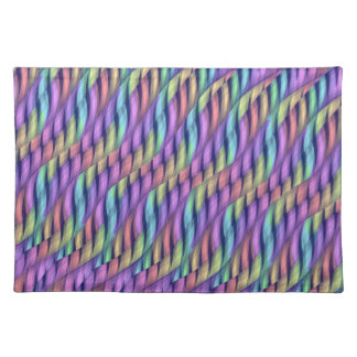 Striping Waves Pastel Rainbow Abstract Artwork Placemat
