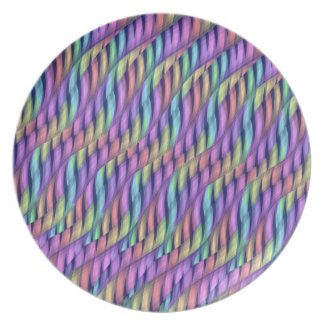 Striping Waves Pastel Rainbow Abstract Artwork Party Plates