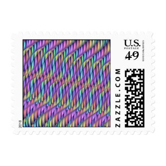 Striping Waves Pastel Rainbow Abstract Artwork Postage Stamps